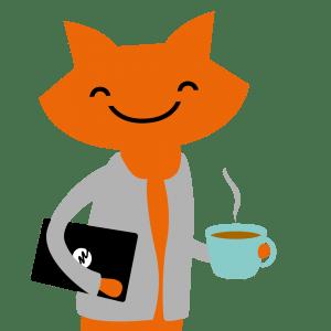 METKAn maskotti Metku-kissa kahvikupin kanssa / METKA's mascot Metku the cat with a cup of coffee