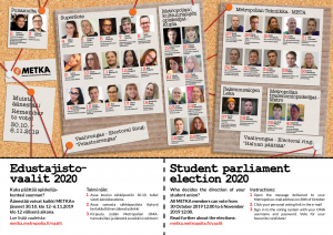 METKAn edustajistovaalien ehdokkaat / The candidates of METKA's student parliament election.
