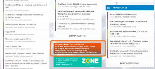 Kuva Metropolian intranet-sivusta, jossa korostettu kuvake korona-ohjeistukseen / A screen shot from Metropolia intranet with highlighting around a link to corona-instructions