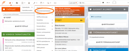 kuvankaappaus Metropolian intranet OMAsta, jossa osoitettuna Tietoa koronaviruksesta -kohta / A screenshot from intranet OMA with highlight on the position of Information on corona virus section