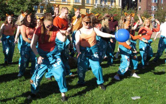 Opiskelijoita fuksiaisissa Kaivopuistossa - Students at the Freshers' Party in Kaivopuisto park